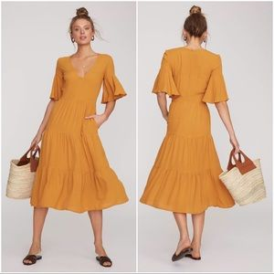 Faithfull The Brand Melia Crepe Midi Dress Size 6
